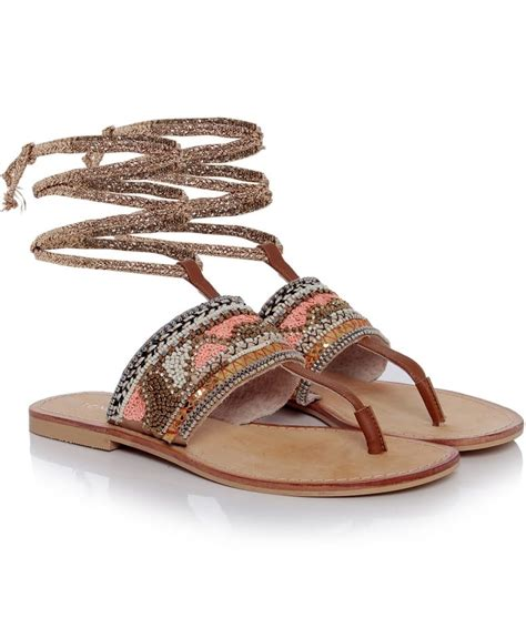 beaded ankle sandals tendenzza camel beaded ankle tie sandals zen wardrobe