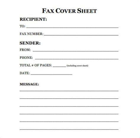 printable fax cover sheet letter template pdf