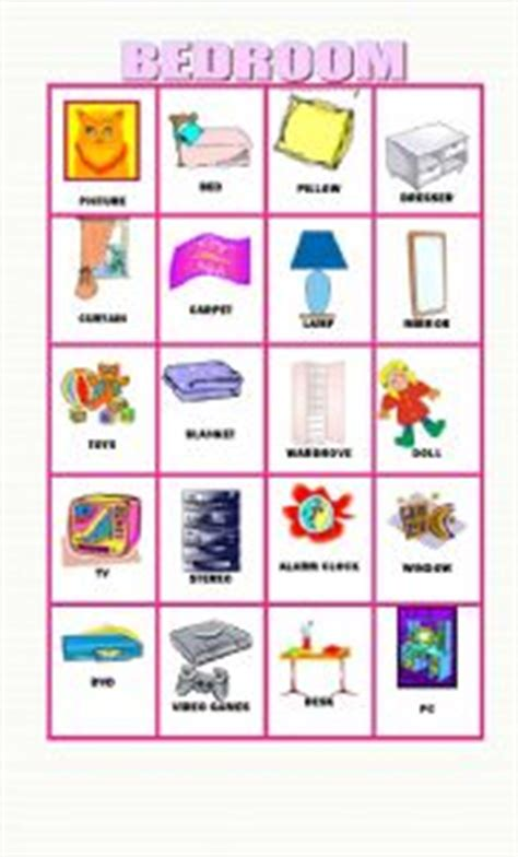 20 flashcards about objects in the bedroom