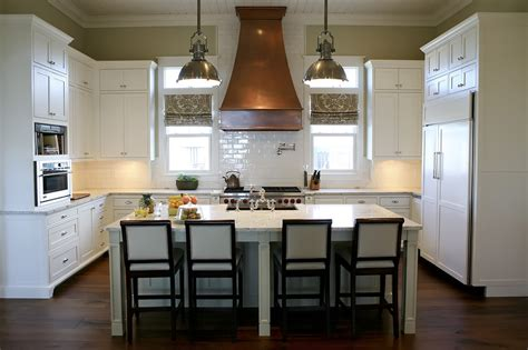 white kitchen with copper and wood accessories color scheme copper range hood cottage kitchen urban grace interiors