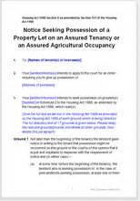 section 8 notice to terminate a tenancy