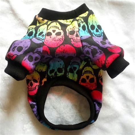 Black Skull Pet Hoodie Clothing Coat Small Puppy Cat Sweater Shirt warm winter yorkie hoodie sweater