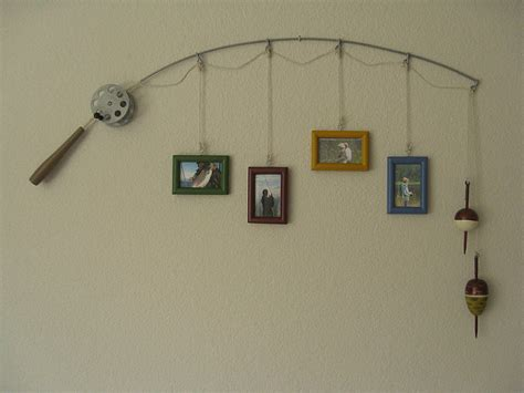 fishing home decor fishing pole picture frame metal silver 4 frames