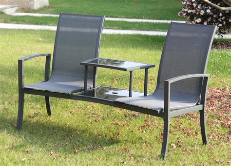 Outdoor Table Ls Foxhunter Outdoor Garden Seat Chair Patio Duo Companion Glass Table Ls01