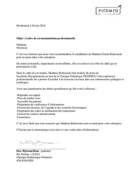 Lettre De Présentation Avec Recommandation Lettre De R 233 F 233 Rence Professionelle