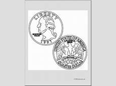 Clip Art: Quarter (coloring page) I abcteach.com | abcteach Quarter Clipart