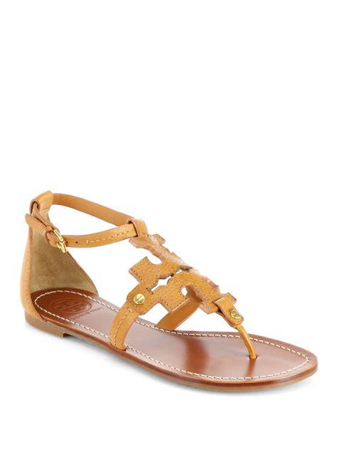 burch sandals lyst burch phoebe leather logo sandals in orange