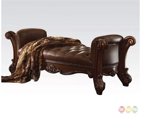 leather and wood bench vendome button tufted faux leather bench in brown with carved wood