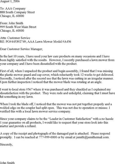 Complaint Letter For Poor Road Condition Sle Complaint Letter For Poor Customer Service Read It Or It For Free Sle