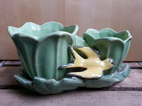 mccoy pottery planters vintage mccoy pottery planter tulips with bird 1950 s