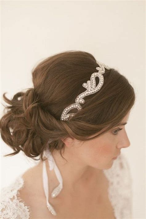 hairstyles with rhinestone headband beautiful soft low bun maybe with a smaller head band
