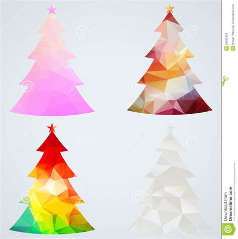 set of christmas trees geometric holiday decorati stock