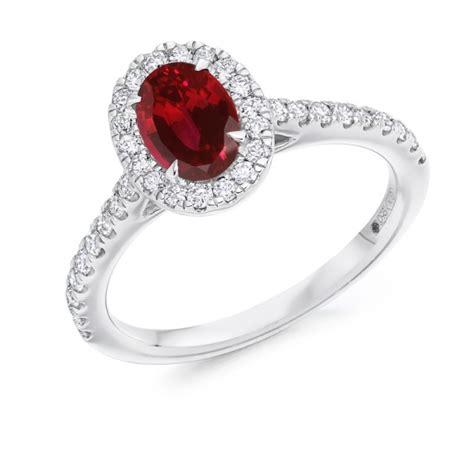 18 carat white gold ruby brilliant cut