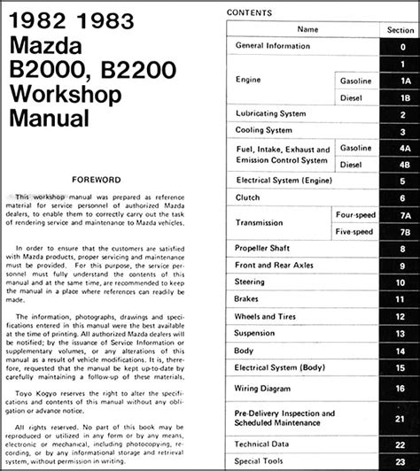 1983 mazda rx 7 workshop service manual for sale carmanuals com 1982 1983 mazda b2000 b2200 truck repair shop manual original