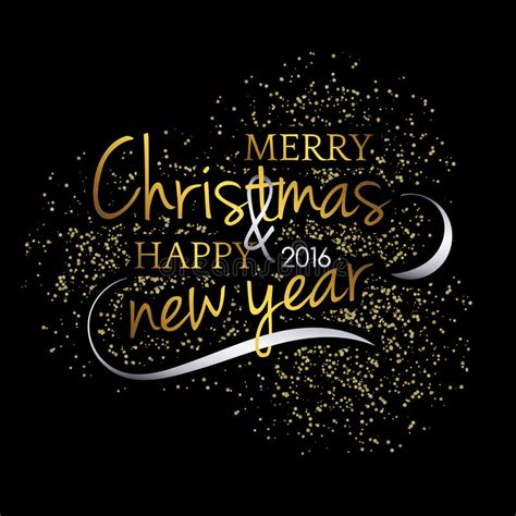 merry christmas festive black background  gold calligraphic greeting text stock vector
