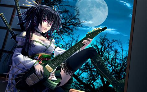 anime girl playing guitar wallpaper women wallpaper and background 1280x800 id 156001