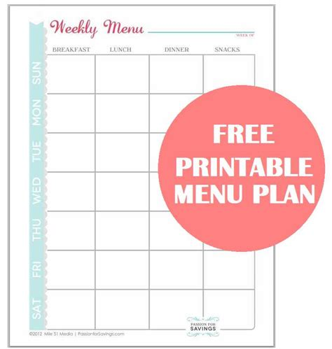 free printable menu planner with snacks meal planning tips