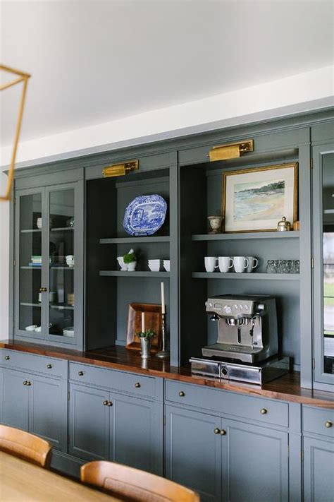 Grey Dining Room Cabinets Gray Built In Dining Room Built Ins With Brass