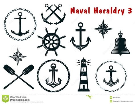 naval heraldry icons set stock vector illustration of