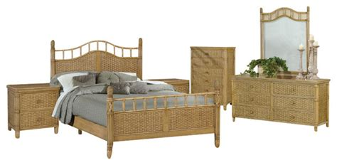 Bali Tropical 6 Piece Rattan And Wicker Bedroom Furniture Wicker Bedroom Furniture Sets