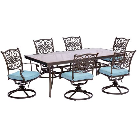 Hanover Traditions 7 Piece Aluminum Outdoor Dining Set Dining Table With Swivel Chairs