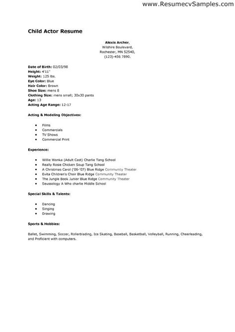 child actor resume sles child acting resume template no experience resume ideas
