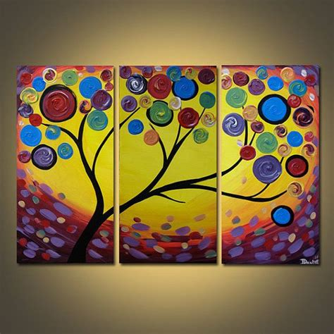 modern acrylic painting ideas spectrum tree triptych original acrylic painting on canvas