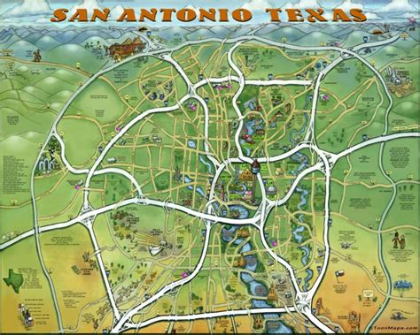 san antonio map this awesome caricature map of san antonio features must visit attractions in town san antonio