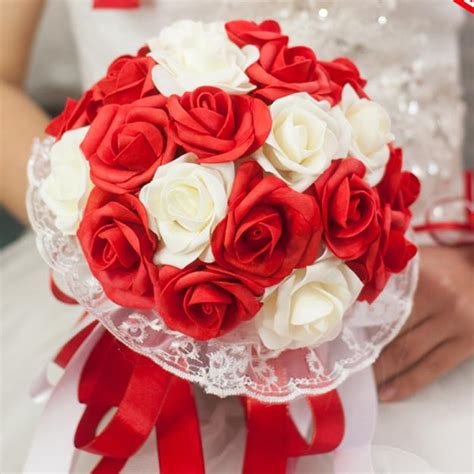 red wedding flowers bridal bouquets rose artifical flowers