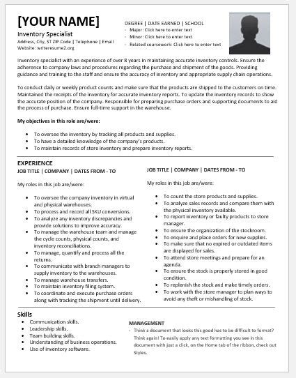 inventory specialist resumes for ms word resume templates