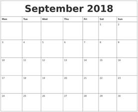 Printable Calendar September 2018 September 2018 Print Monthly Calendar