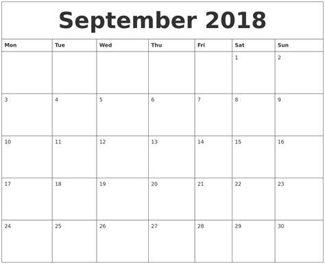 september 2018 calendar with holidays printable calendar template