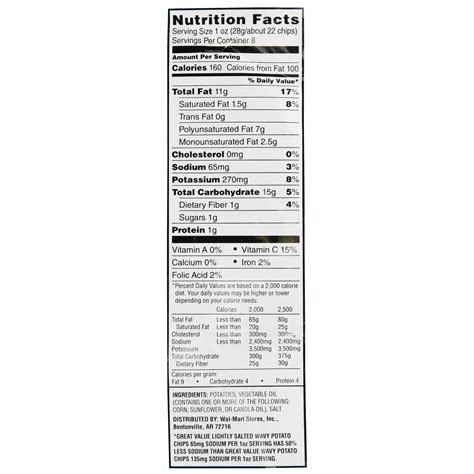 Nutri Facts potato chips nutrition facts