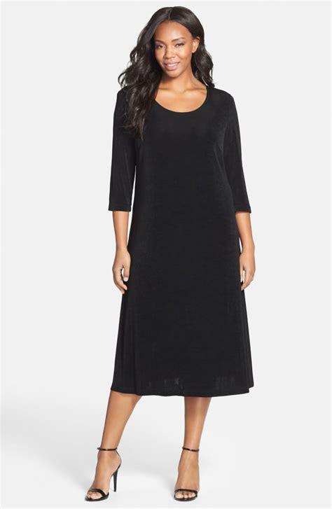 plus size knit dresses vikki vi three quarter sleeve stretch knit a line dress