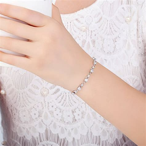 Heels Gelang Gold bamoer white gold bracelets with sparkling clear cubic zirconia cz charms bangle
