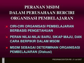 Organisasi Dan Msdm ppt peran peranan strategis msdm klp ii 1 sri agustina