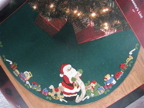 christmas bucilla felt applique holiday tree skirt kit