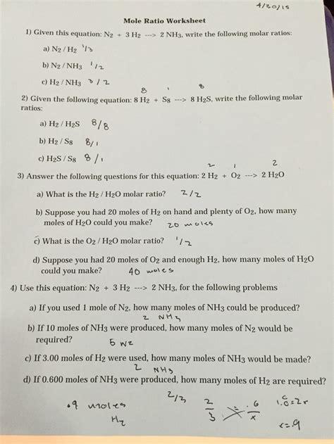 Mole Ratio Worksheet pictures mole ratio worksheet getadating