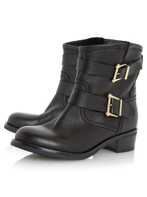 dune philee buckle detail ankle boots in black black