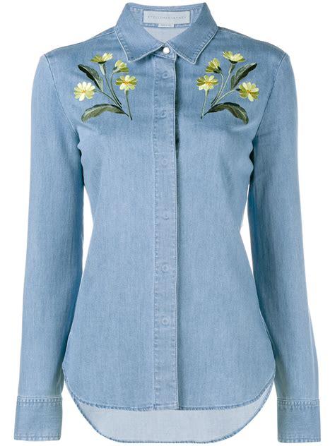 Embroidery Denim Shirt lyst stella mccartney floral embroidered denim shirt in blue