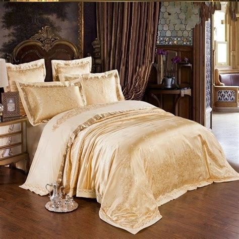 silk comforter king gold jacquard silk quilt duvet cover king queen 4 6pcs