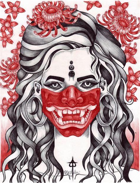hannya mask tattoo designs hannya mask tattoos designs drawings