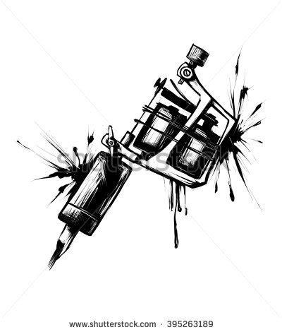 tattoo machine cartoon tattoo machine vector illustration on blue stock vector