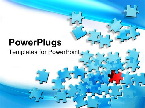 powerpoint template puzzle pieces free powerpoint template blue jigsaw puzzle pieces spread on