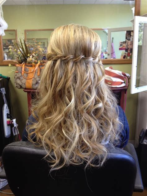 braid ball hairstyles waterfall braid half up half down with curls google