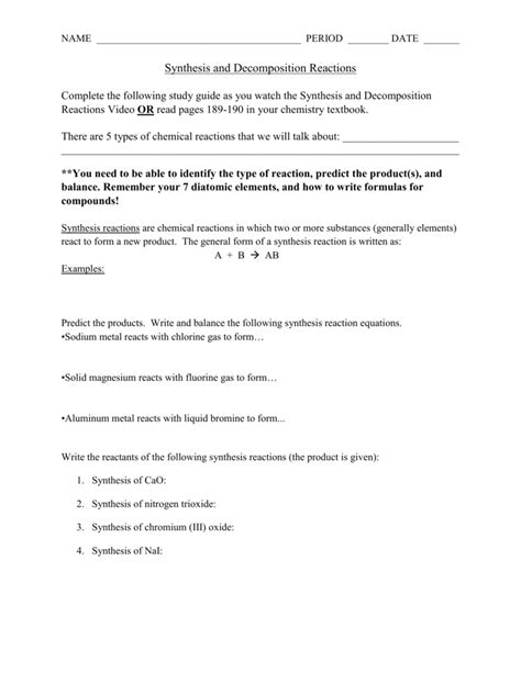 Decomposition Reaction Worksheet by Synthesis And Decomposition Reactions Worksheet Photos