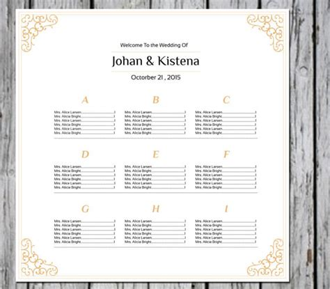 Items Similar To Sale Wedding Seating Chart Poster Template Gold Seating Chart Editable Ms Microsoft Seating Chart Template