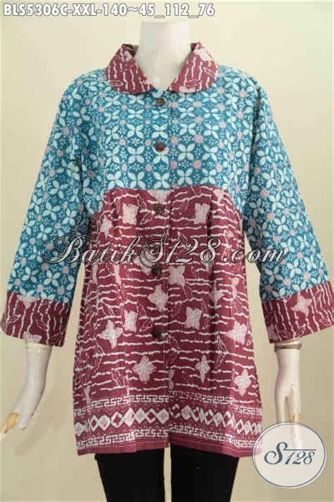 Jual Baju Buat jual produk baju batik atasan buat wanita gemuk blus batik kerah bulat 3l dual motif dan warna