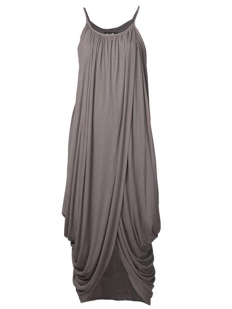 grey draped dress lyst again draped dress in gray