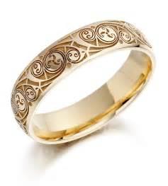 Wedding ring mens gold celtic spiral triskel irish wedding band